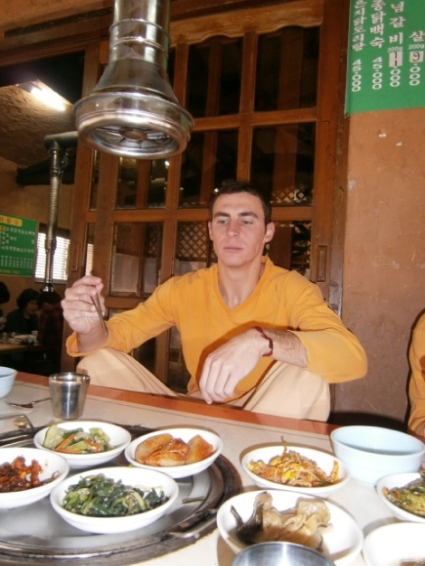 They may look like prison clothes, but so goes dining at a Korean sauna.