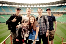 The crew after a Samsung Lions baseball game.