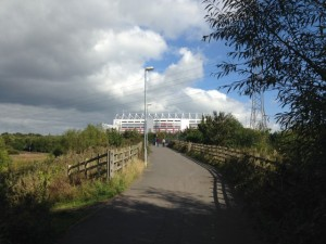 The home of Stoke City FC is set above the town and away from the surrounding neighborhoods.